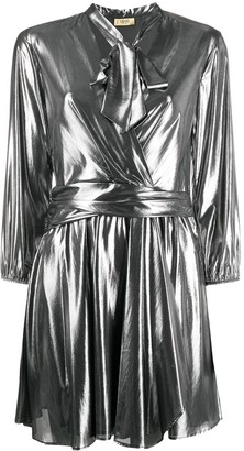 Liu Jo Pussy Bow Metallic Mini Dress