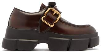 Prada Exaggerated Sole Leather Loafers - Womens - Dark Brown