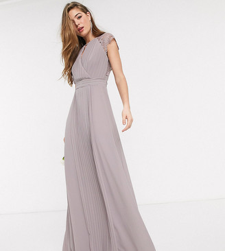 TFNC Tall bridesmaid lace sleeve maxi dress in grey