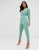Asos Design DESIGN deep plunge jumpsuit with gathered sleeve detail