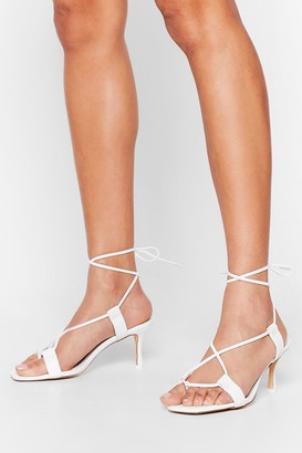 Nasty Gal Womens The Lace is On Kitten Heel Sandals - White