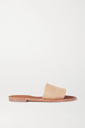Souliers Martinez Playa Telar Woven Leather Slides - Neutral