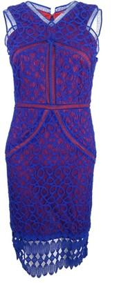 Jax Women's Sleeveless Cutaway All Over Lace Midi Length Sheath