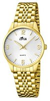 Lotus Women's Quartz Watch with White Dial Analogue Display and Gold Stainless Steel Plated Bracelet 15886/2