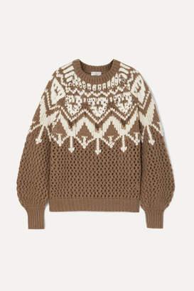 Brunello Cucinelli Bead-embellished Fair Isle Cashmere Sweater - Brown