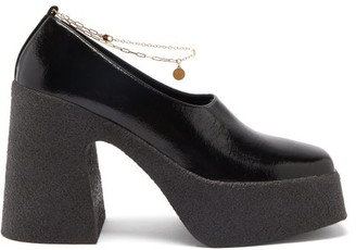 Stella McCartney Ankle-chain Patent Faux-leather Platform Pumps - Black