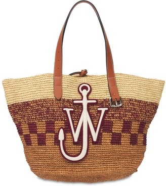 J.W.Anderson Embroidered Straw Tote Bag