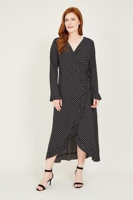 Yumi Black Polka Dot Ruffle Wrap Dress