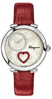 Salvatore Ferragamo Women's 'CUORE' Swiss Quartz Stainless Steel and Leather Casual Watch, Color:Red (Model: FE2980016)