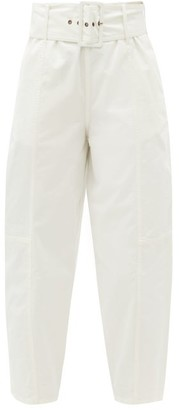 See by Chloe Belted Cotton-blend Twill Trousers - White