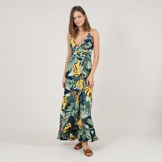 Molly Bracken Tropical Print Maxi Dress with Shoestring Straps and Lace-Up Back