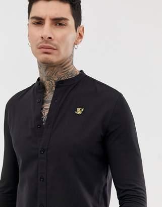SikSilk shirt with grandad collar in black