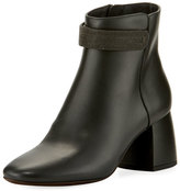 Brunello Cucinelli Leather Monili-Strap Block-Heel Boot