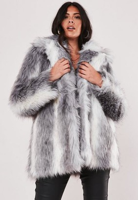 Missguided Size Premium Grey Two Tone Faux Fur Coat