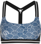The Upside Shimoda Printed Stretch-jersey Sports Bra - Blue