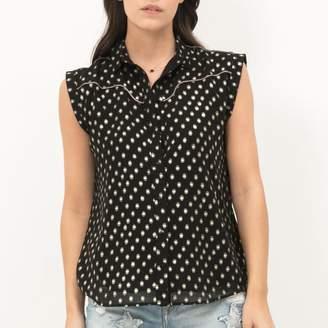 Le Temps Des Cerises Polka Dot Print Blouse with Polo Shirt Collar
