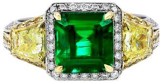 Diana M Fine Jewelry 18K Two-Tone 5.46 Ct. Tw. Diamond & Emerald Ring