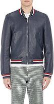 Thom Browne Men's Leather Varsity Jacket-NAVY
