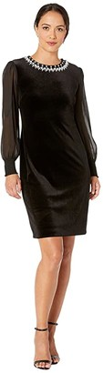 Tahari ASL Petite Illusion Sleeve Velvet Cocktail Dress with Pearl Necklace Embellishment Detail (Black) Women's Dress