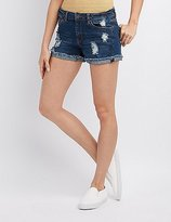 Charlotte Russe Girlfriend Destroyed Denim Shorts