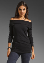 C&C California Stretch Thermal Long Sleeve Off the Shoulder Tunic