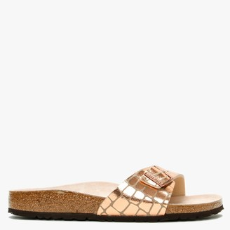 Birkenstock Madrid Gator Gleam Copper Mules