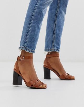New Look cross strap detail block heel in tan