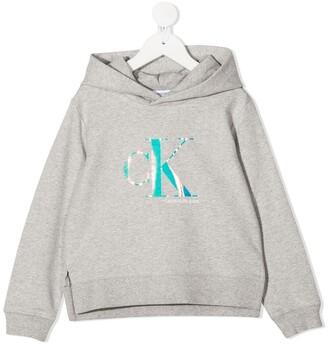 Calvin Klein Kids Iridescent Logo Print Hoodie