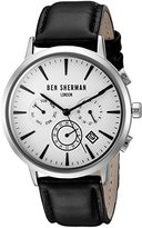 Ben Sherman Men's 'Portobello Professional' Quartz Stainless Steel and Leather Watch, Color:Black (Model: WB028WA)