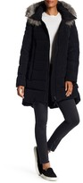 Derek Lam 10 Crosby Quilted Down Dyed Genuine Fox Fur Trim Hooded Coat