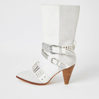 River Island White leather embellished strap heeled boots