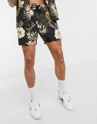 New Look ripstop all over print pineapple short in black