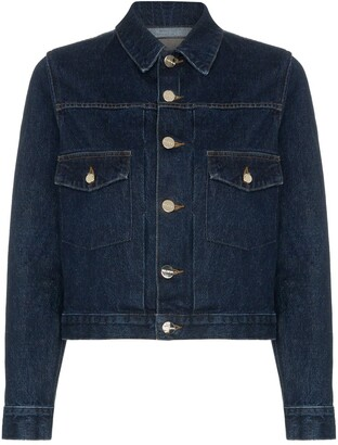 Gold Sign The Pleat cropped denim jacket