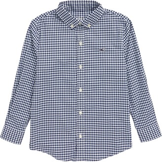 Vineyard Vines Kids' Gingham Performance Whale Button-Down Shirt