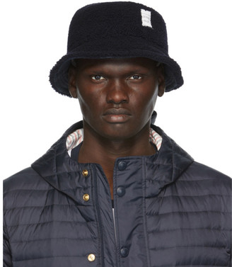 Thom Browne Navy Shearling Bucket Hat