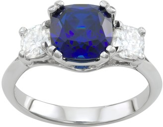 Charles & Colvard 14k White Gold Lab-Created Sapphire & 3 3/4 Carat T.W. Lab-Created Moissanite 3-Stone Ring