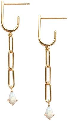 Wanderlust + Co Opal Chain Hoop Huggie Earrings