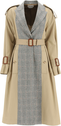 Alexander McQueen TRENCH COAT WITH PRINCE OF WALES PANELS 40 Brown, Grey, Beige Cotton, Wool