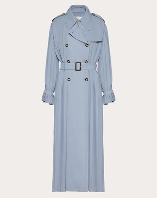 Valentino Pleated Georgette Trench Women Cloud Silk 100% 46