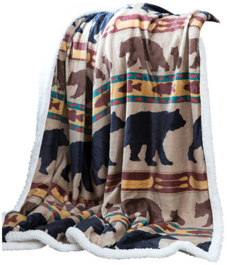 "Carstens Bear Family Rustic Cabin Sherpa Fleece Throw Blanket, 54""x68"""