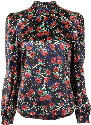 Veronica Beard Floral-Print High Neck Silk Blouse