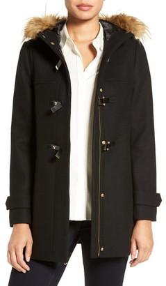 Cole Haan Wool Blend Faux Fur Trim Hooded Coat
