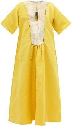 RIANNA + NINA Vintage Brocade-yoke Silk-satin Dress - Multi