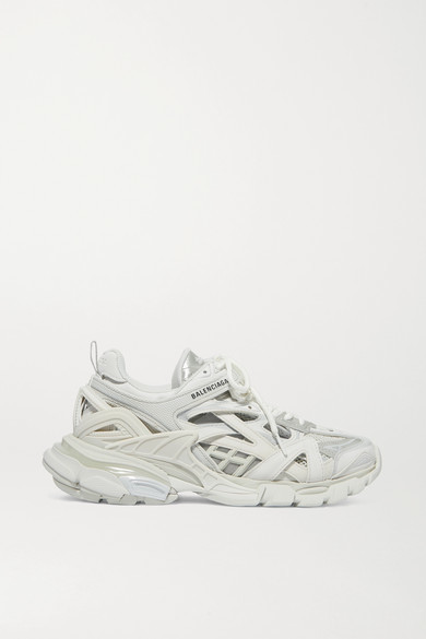 Balenciaga Track 2 Logo Detailed Metallic Mesh And Rubber Sneakers White Shopstyle Trainers