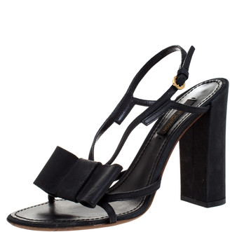 Louis Vuitton Black Leather Bow Slingback Sandals Size 37