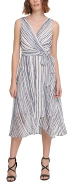 DKNY Striped Faux-Wrap Midi Dress