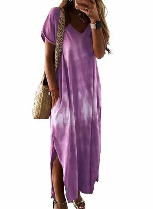 FIYOTE Women Plus Size Tie-dye Summer Cotton Short Sleeve V Neck Maxi Dresses Purple