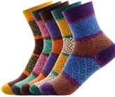 Sun Women's 6 Pairs Vintage Style Winter Knitting Warm Wool Crew Socks