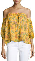 Ella Moss Poetic Floral Off-the-Shoulder Silk Blouse, Yellow