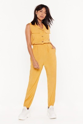 Nasty Gal Womens Jumping to Conclusions Button-Down Jumpsuit - yellow - S/M